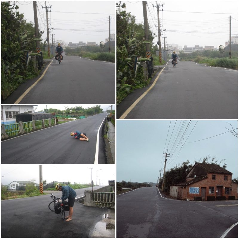 image grid showing a cyclist on a quiet road
