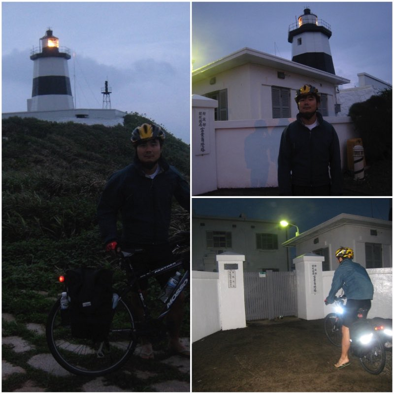 A cyclist visting Fugueijiao Lighthouse late afternoon