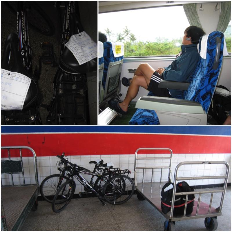 image grid Bicycles to be shipped by train and a passenger on speed train