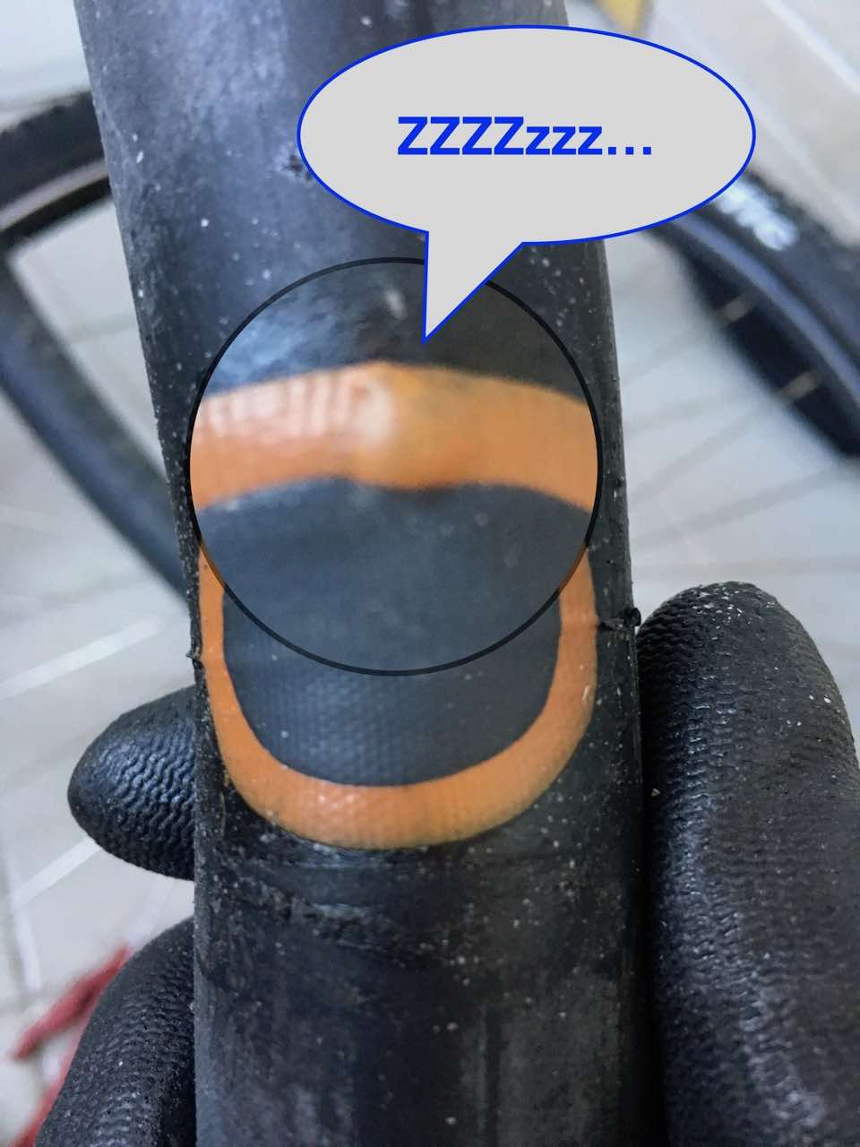 Leaking bicycle patched inner tube