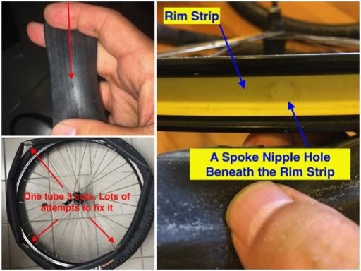 cut inner tube, Rim Strip, Spoke holes