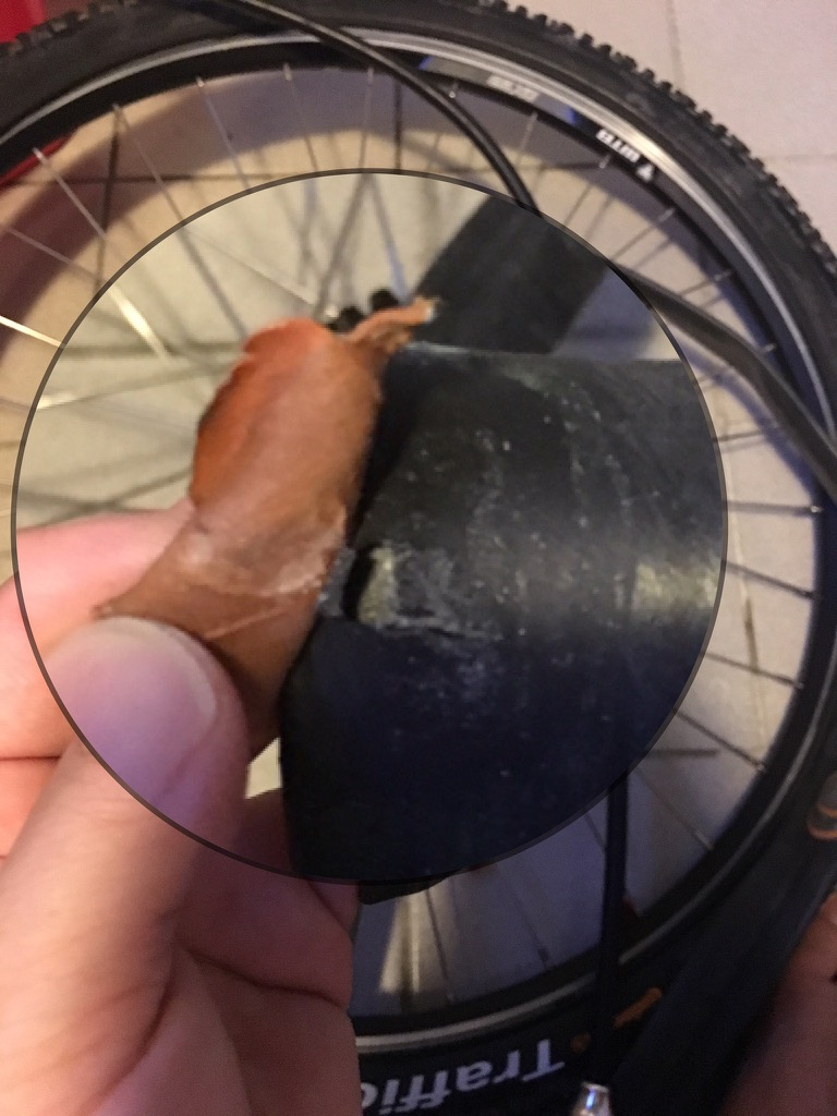 bicycle Inner tube tore when removing the patch