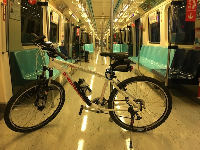 A bicycle in the Metro car