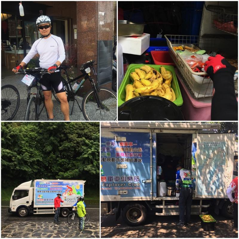 Cyclist and Support Truck with Bananas