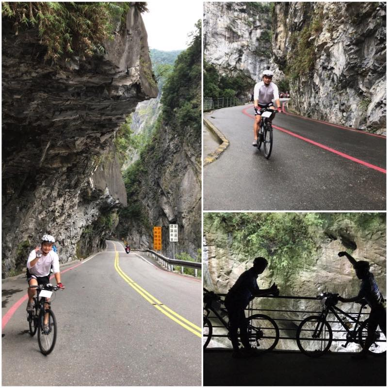 Cyclists on Road of Taroko Gorge