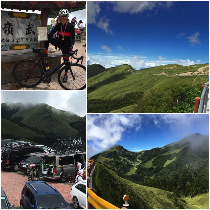 Cyclist on Wuling Pass, supporting vans and mountain ridge