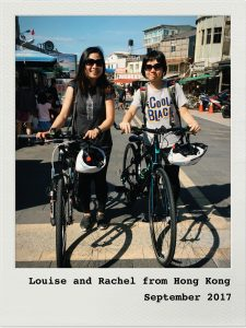 Louise and Rachel ready to start a cycling trip