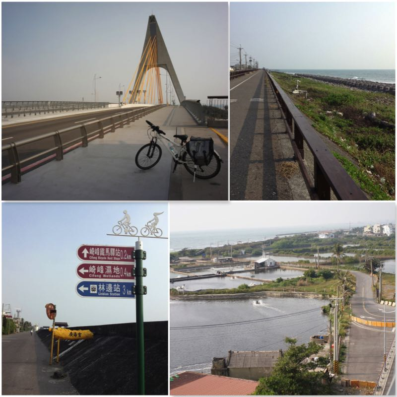Image grid showing bikeways in Dapeng Bay