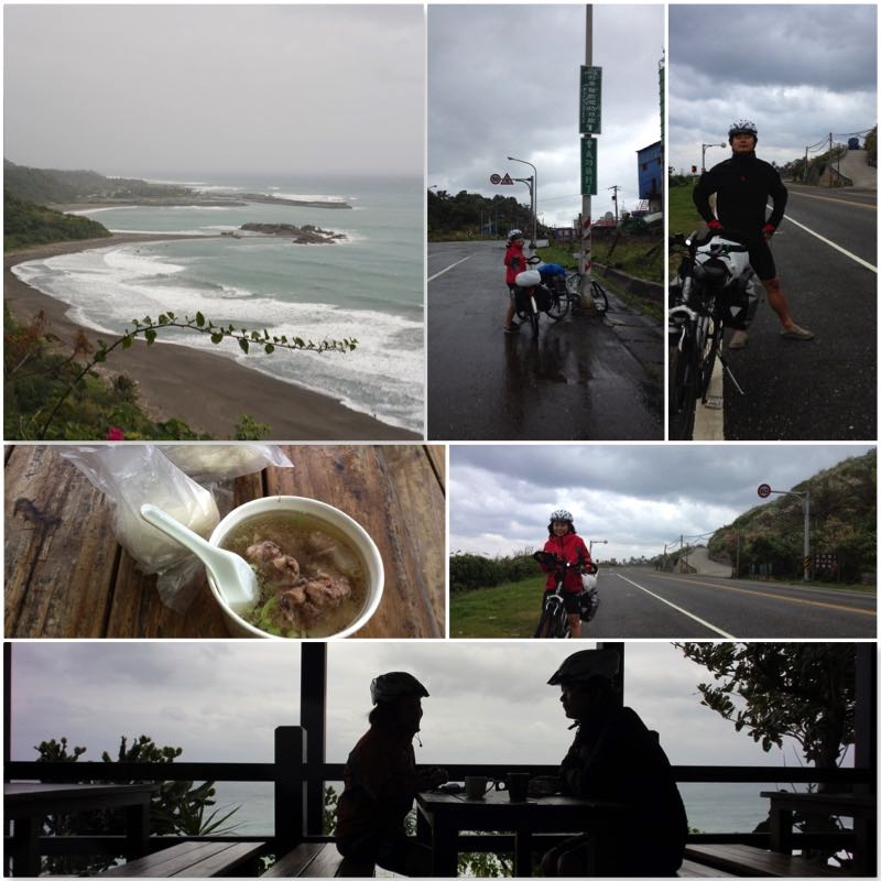 Image grid showing a beach, Donghe bums with hot bitter melon ribs soup, two cyclists in the rain, their silhouette.