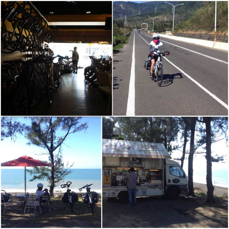 Image grid showing a bike shop, the road condition from Fangliao to Kenting and Mobile seaside cafe