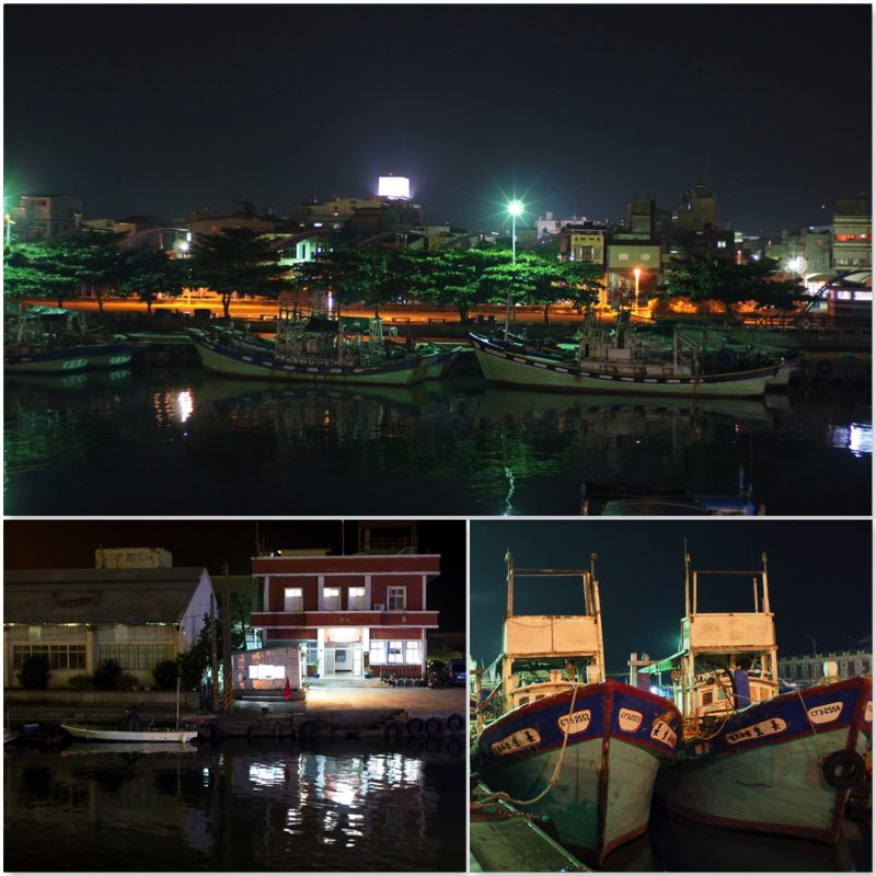 image grid showing night scene of fishing boats moored to the FangLiao fishing port