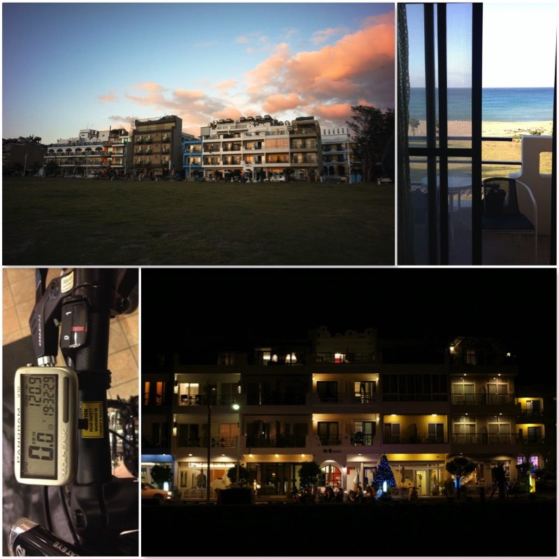 Image grid showing Kenting Sea Wall Homestay at sun set and evening, window view and bicycle speedometer