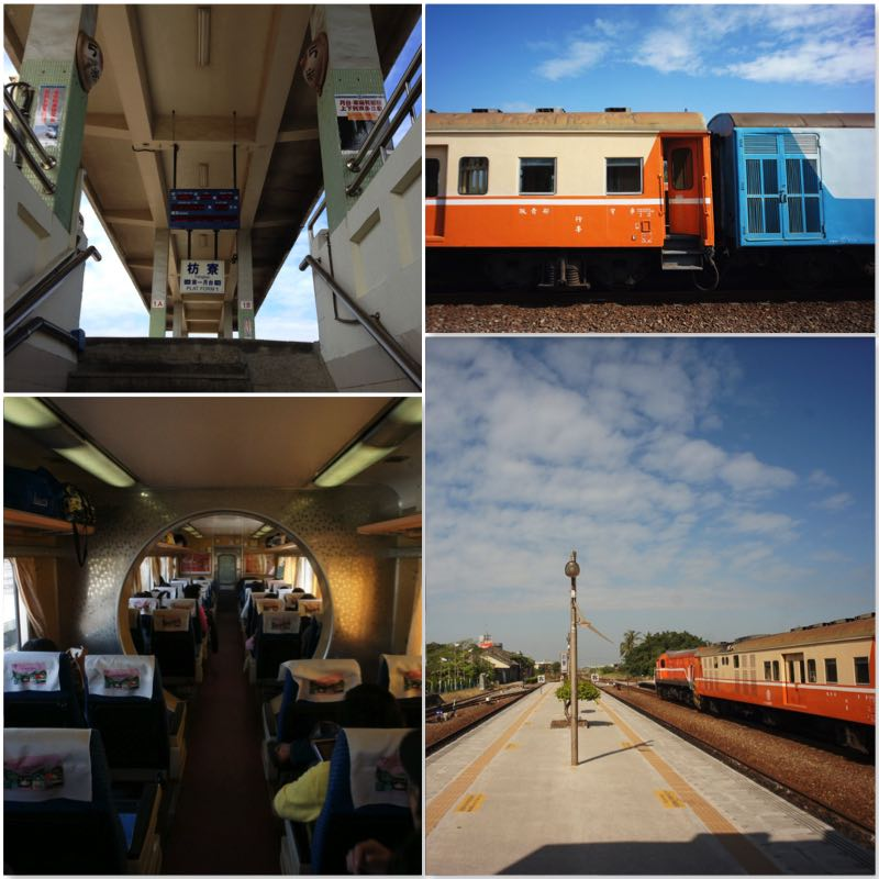 image grid showing the Fangliao station platform, orange train and the seats of a train to Taitung.