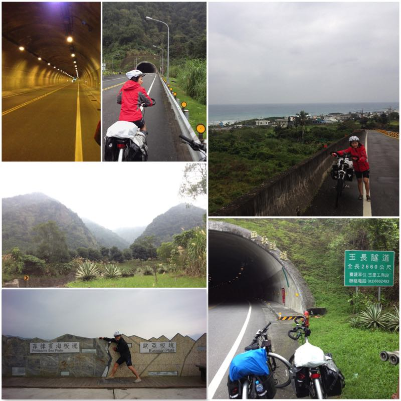 Image grid showing cyclists travelling to Hualien Valley via Yuchang Tunnel from Ningpu