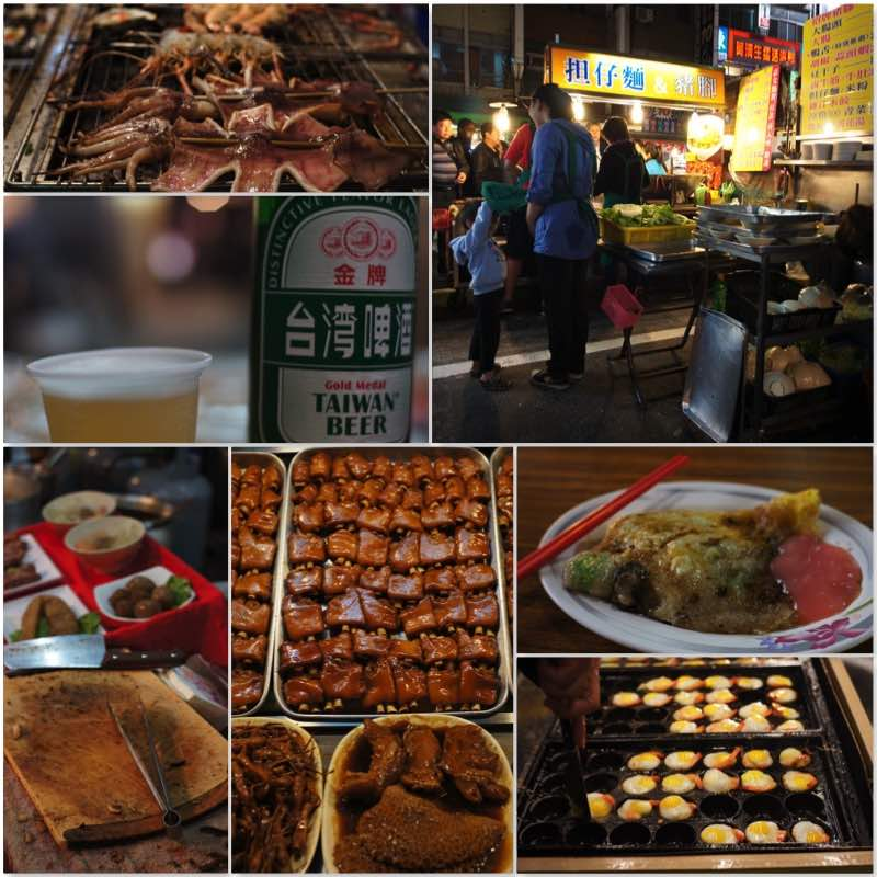 image grids showing various food sold in Kaohsiung night market