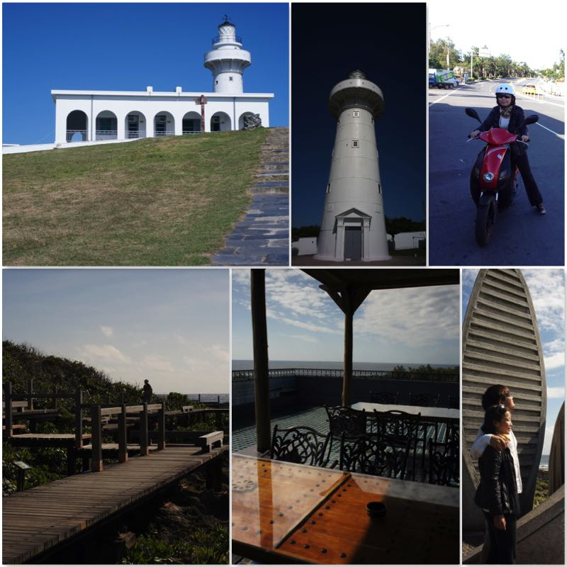 Image grid showing the Eluanbi Light House, Seaside walking trails, Southernmost Tip of Taiwan and an E-bike.