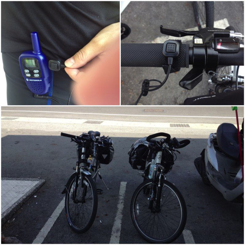 Image Grid showing Walkie-Talkie setup on a bicycle.