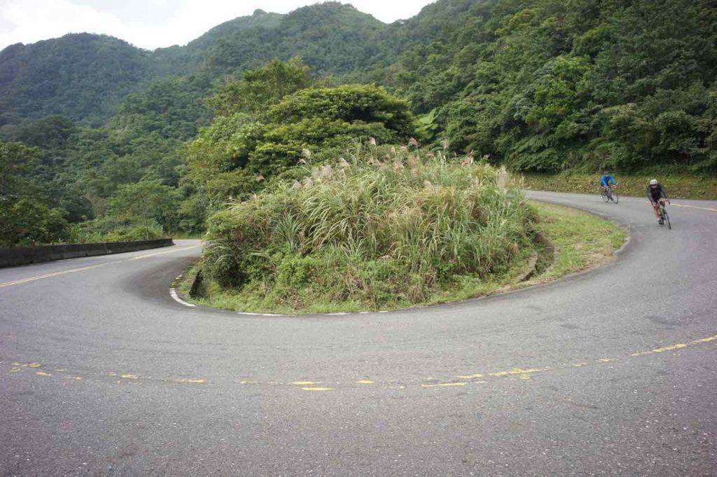 Hairpin turn descent with 2 cyclists