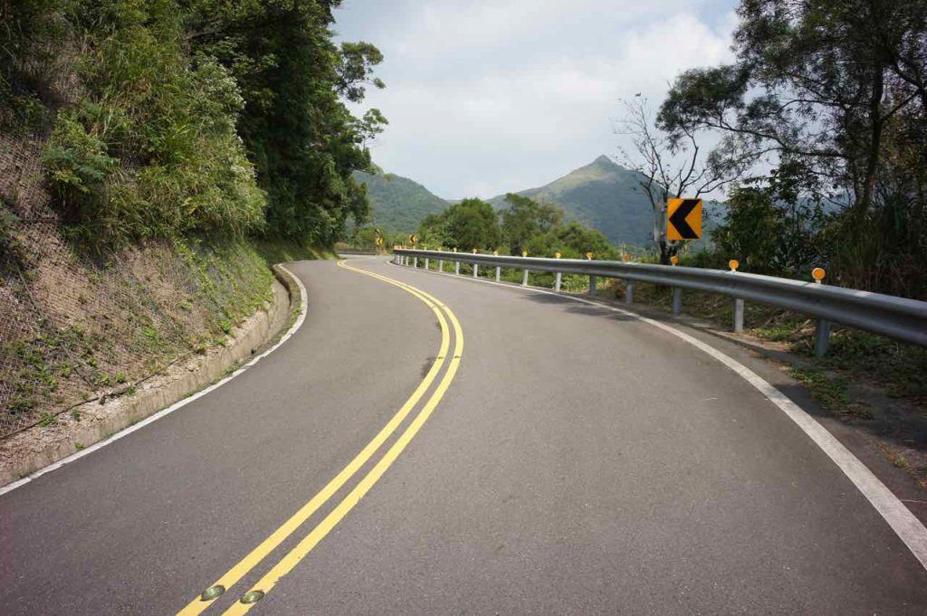 long winding hilly road
