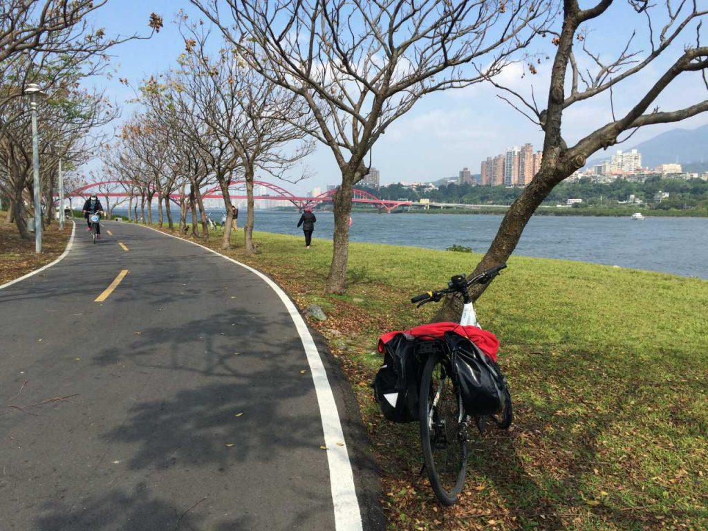 Riverbank bikeway near Bali.
